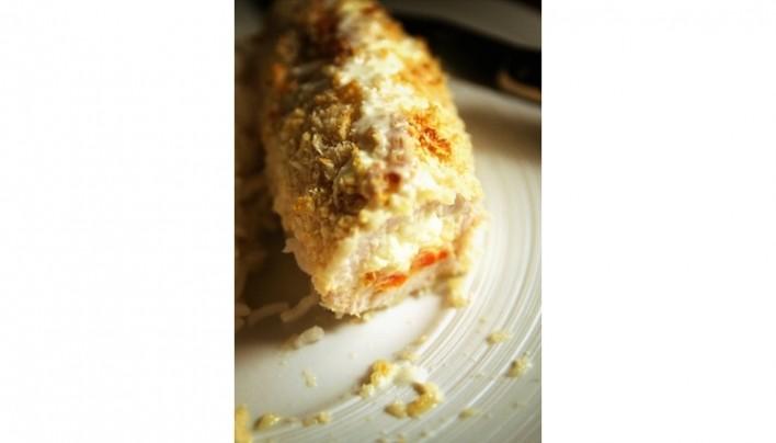 Roulé pané de poulet aux poivrons