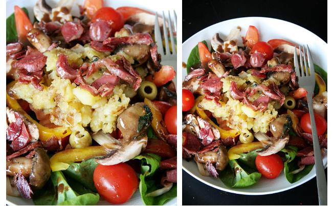 Salade de gésier et écrasé de pommes de terre à l'huile d'olive