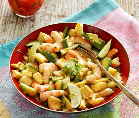 Salada de camarão com maracuja (crevettes-passion)