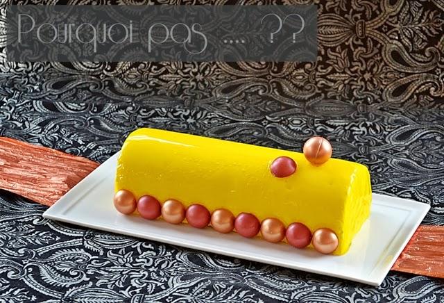 Bûche passion-coco-citron sans lactose. Du blog Pourquoi Pas....??