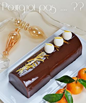 Bûche pain d'épices, clémentine, yaourt, chocolat. Du blog Pourquoi pas...?